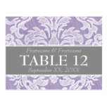 Modern Damask Pattern Wedding Table Numbers Postcard