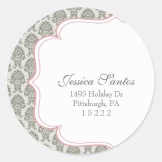 modern damask return address seal (label) round sticker