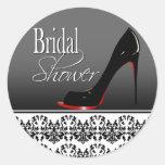 Modern Damask Stiletto Bridal Shower Round Sticker