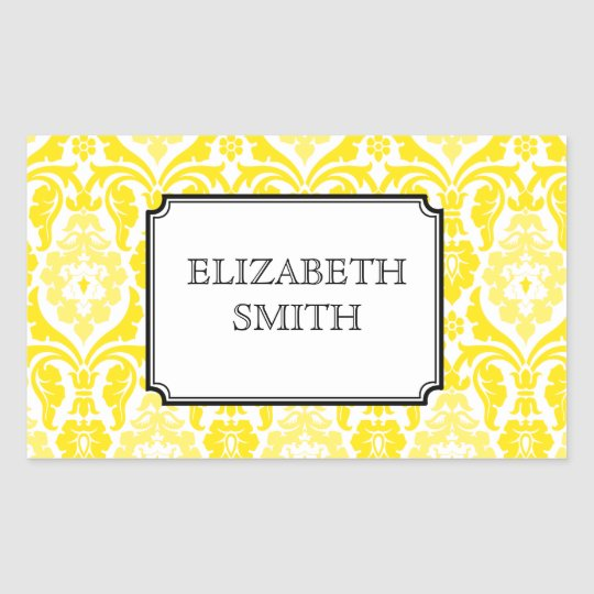 Modern Damask Yellow Custom Sticker