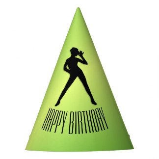 Modern Dance Green Happy Birthday Party Hat