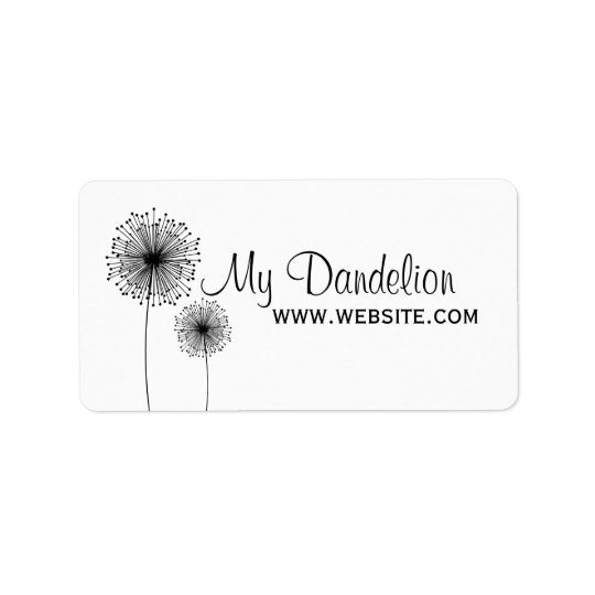 Modern Dandelion Flower CUSTOM COLOR Label