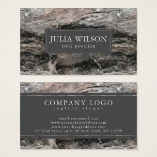 Modern Dark And Light Gray Marble Stone Business Card