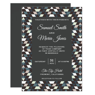 Modern Dark Geometric Pattern Wedding Invitation