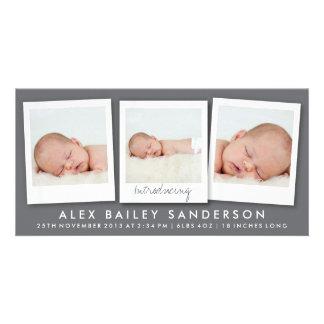 Modern Dark Gray Birth Announcement with 3 Photos Customised Photo Card