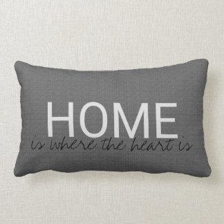 "Modern dark gray burlap HOME ""where the heart is"" Lumbar Cushion"
