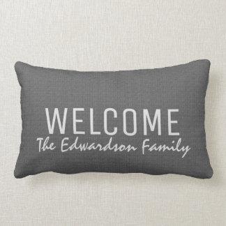 Modern dark gray burlap Welcome Family monogram Lumbar Cushion