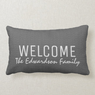 Modern dark gray burlap Welcome Family monogram Lumbar Pillow