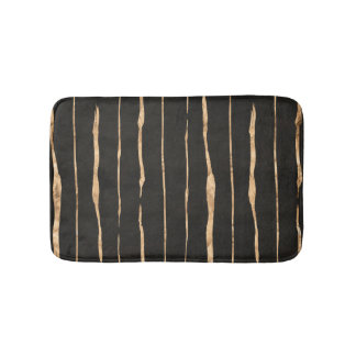 Modern Dark Gray & Rose-gold Stripes Pattern Bath Mats