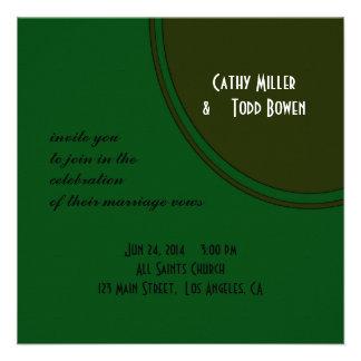 Modern Dark Green Circle Wedding Custom Invitation