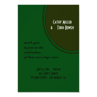 Modern Dark Green Circle Wedding 3.5x5 Paper Invitation Card