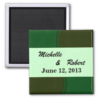 Modern Dark Green Circle Wedding Magnet