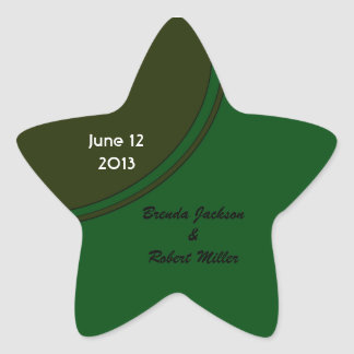 Modern Dark Green Circle Wedding Star Sticker