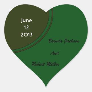 Modern Dark Green Circle Wedding Heart Stickers