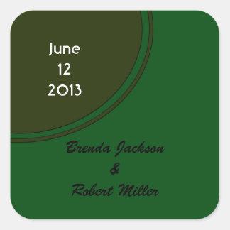Modern Dark Green Circle Wedding Square Sticker