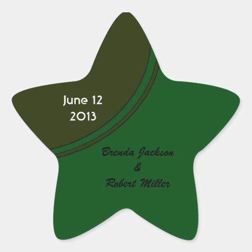 Modern Dark Green Circle Wedding Star Stickers