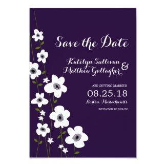 Modern Dark Purple Anemone | Save the Date Card