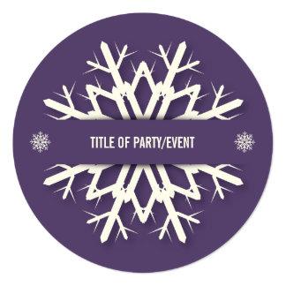 Modern Dark Purple Snowflake Christmas Party 13 Cm X 13 Cm Square Invitation Card