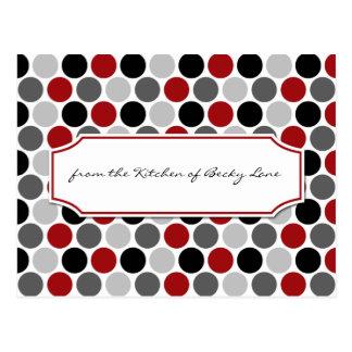 Modern Dark Red Gray Black Circles Recipe Cards