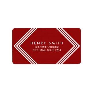 Modern Dark Red & White Borders Geometric Address Address Label