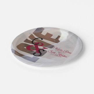 Modern Day Love Wedding or Anniversary- Red Maroon Paper Plate