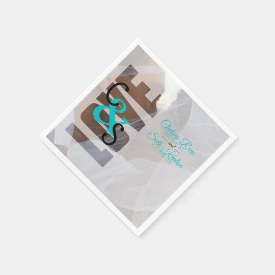 Modern Day Love Wedding - Turquoise Disposable Serviette