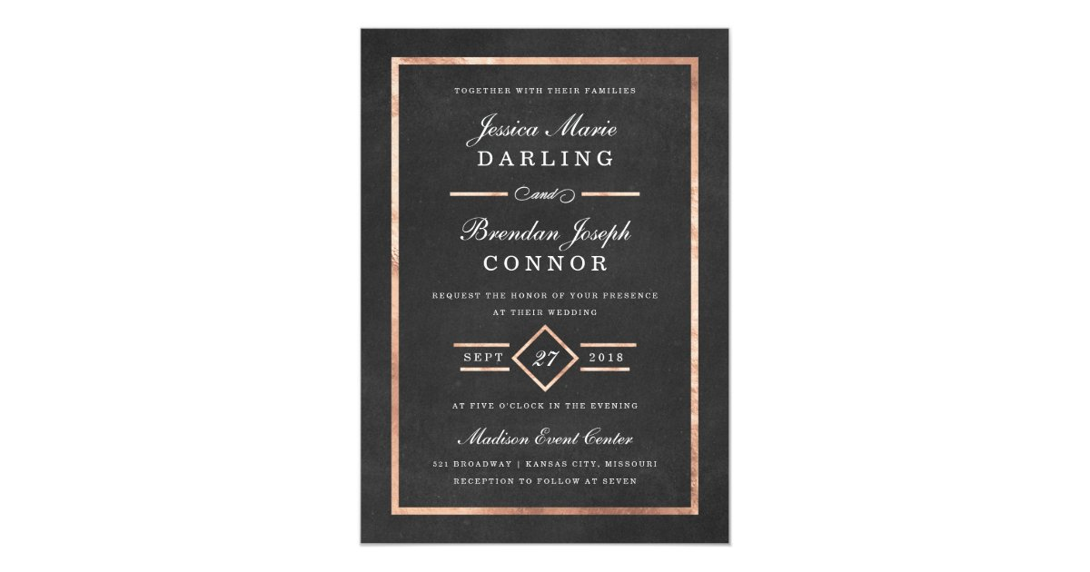 Modern deco rose gold black wedding invitation zazzle for Deco maison rose gold