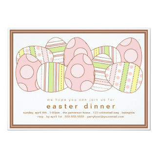 "Modern Decorated Eggs Easter Dinner Invitation 5"" X 7"" Invitation Card"