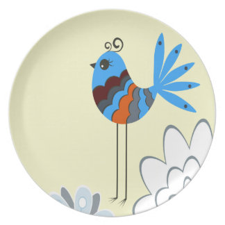 Modern Decorative Blue Birds Plate