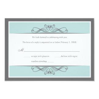 Modern Decorative Wedding (Horizontal) Reply Card 9 Cm X 13 Cm Invitation Card