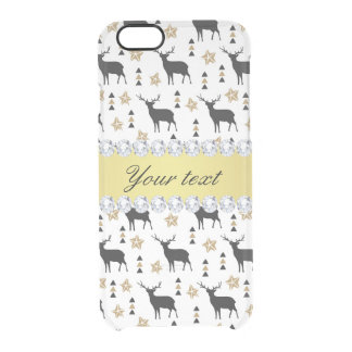 Modern Deer Pattern and Diamonds Clear iPhone 6/6S Case