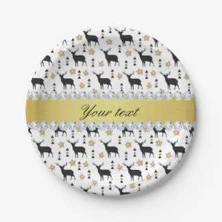 Modern Deer Pattern and Diamonds Paper Plate