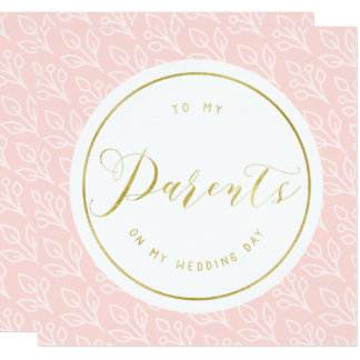 "Modern Delicate | ""To my parents"" wedding day 13 Cm X 13 Cm Square Invitation Card"