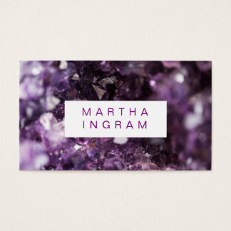 modern Design Bold Purple Amethyst Crystal Business Card