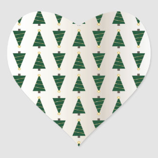 Modern Design Bright Christmas Trees in Soft Gold Heart Sticker