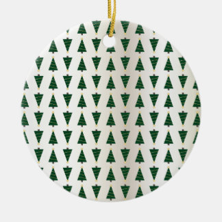 Modern Design Bright Christmas Trees in Soft Gold Round Ceramic Decoration