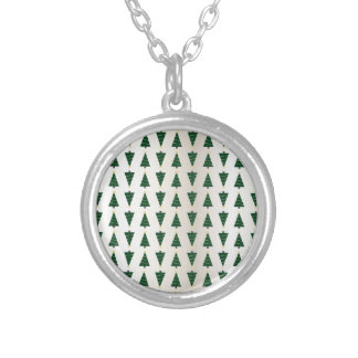 Modern Design Bright Christmas Trees in Soft Gold Round Pendant Necklace