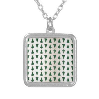 Modern Design Bright Christmas Trees in Soft Gold Square Pendant Necklace