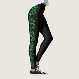 Modern Design Clover Heart St Patrick's Day Leg Leggings
