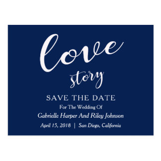 "Modern Design ""Love Story"" Save The Date Postcard"
