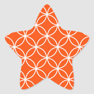 Modern Design Overlapping Circles in Orange Star Sticker