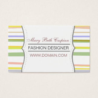 Modern Design  Pale Colored Retro Stripes Business Card