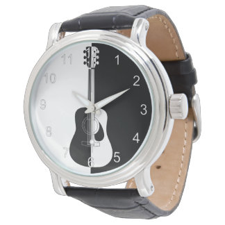 Modern designer black and white guitar watch