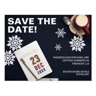 Modern Desk | Holiday Winter Wedding Save The Date Postcard