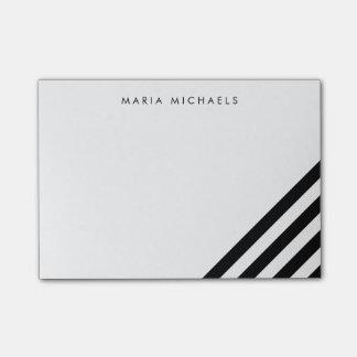 Modern Diagonal Black & White Stripe Post-it Notes