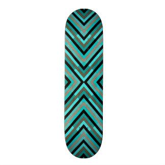Modern Diagonal Checkered Shades of Green Pattern 20 Cm Skateboard Deck
