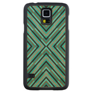 Modern Diagonal Checkered Shades of Green Pattern Carved Maple Galaxy S5 Case