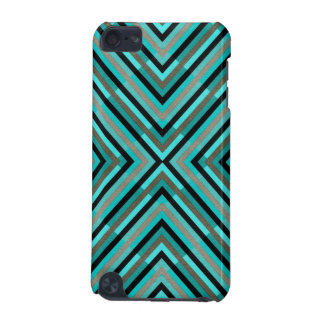 Modern Diagonal Checkered Shades of Green Pattern iPod Touch (5th Generation) Covers