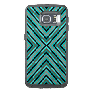Modern Diagonal Checkered Shades of Green Pattern OtterBox Samsung Galaxy S6 Edge Case