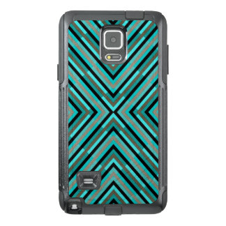 Modern Diagonal Checkered Shades of Green Pattern OtterBox Samsung Note 4 Case